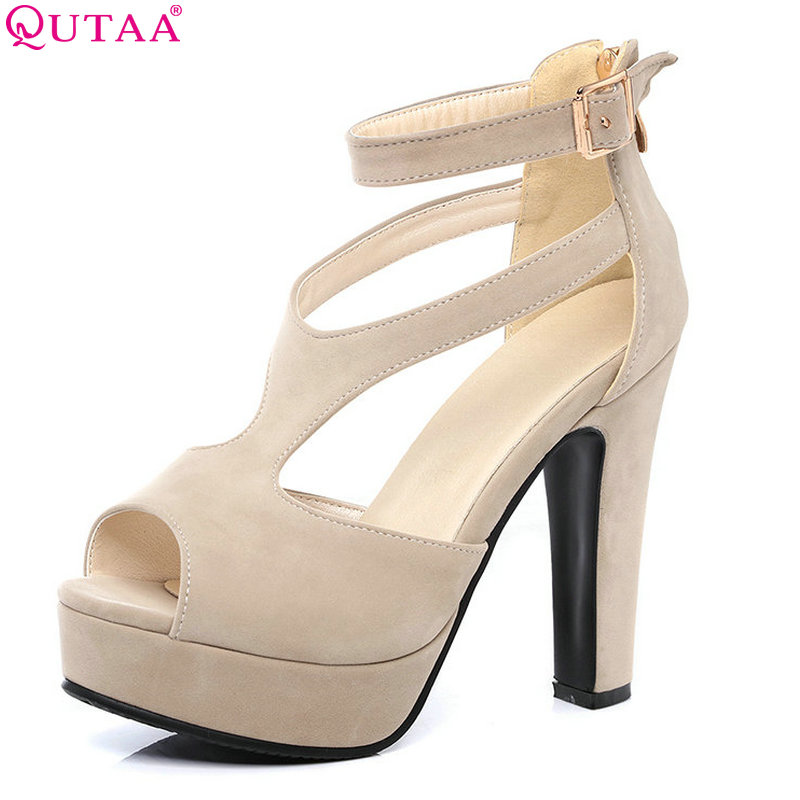 QUTAA 2017 Women Pumps Summer Black Ladies Shoe Square High Heel Peep Toe PU Leather Zipper