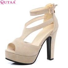 QUTAA 2017 Mujeres Bombea Verano de las Señoras Negras de Zapatos Cuadrados de Alta zapatos de tacón Peep Toe de Cuero de LA PU Cremallera Mujer Zapatos de Boda del Tamaño 34-43