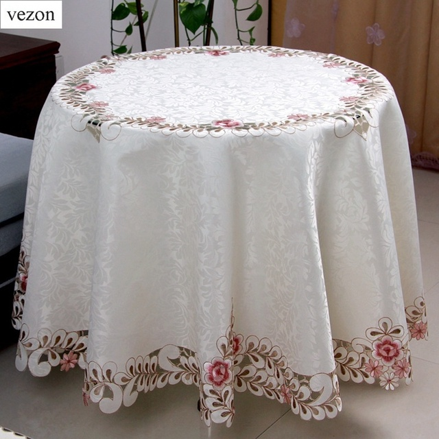 vezon Sale Round Elegant Polyester Satin Jacquard Embroidery Floral Tablecloth Embroidered Hand Cutwork Table Cloth Cover Towels