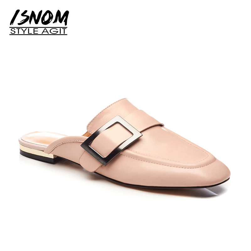 ISNOM 2018 Fashion Women Slippers Genuine Leather Metal Decoration Flat Outsole Footwear Summer New Female Casual Mules Shoes new pink red rhinestone diamond bride s shoes super high heels crystal bowl wedding shoes elegant sandals female pumps feminina