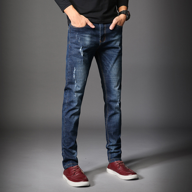 hot sell 2017 Mens jeans New Fashion Men Casual Jeans Slim Straight High Elasticity Feet Jeans Loose Waist Long Trousers new design skinny mens jeans men brand fashion male casual cotton slim straight elasticity pants loose waist long trousers denim