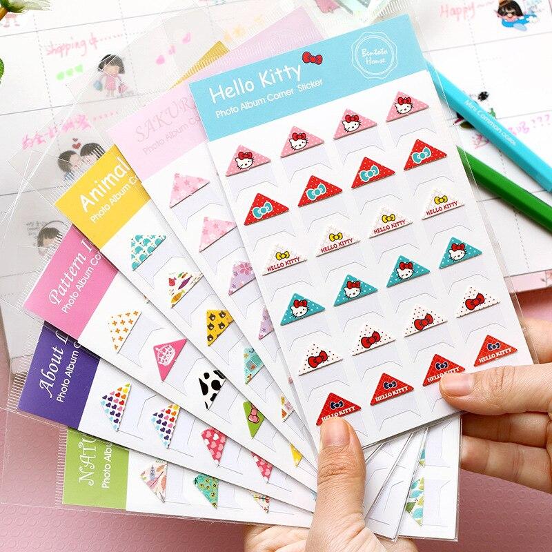 1 Blatt Hallo Kitty Sakura Herz Papier Ecke Klebstoff Aufkleber Stick Label Notebook Album Koffer Decor Aufkleber GroßE Sorten