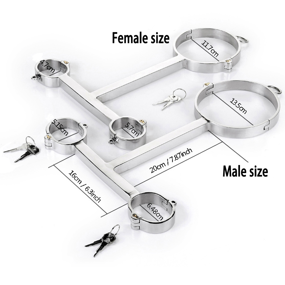 T type hand neck bondage cuffs stainless steel handcuffs bdsm collar adult games slave restraints fetish sex toys for couplesT type hand neck bondage cuffs stainless steel handcuffs bdsm collar adult games slave restraints fetish sex toys for couples