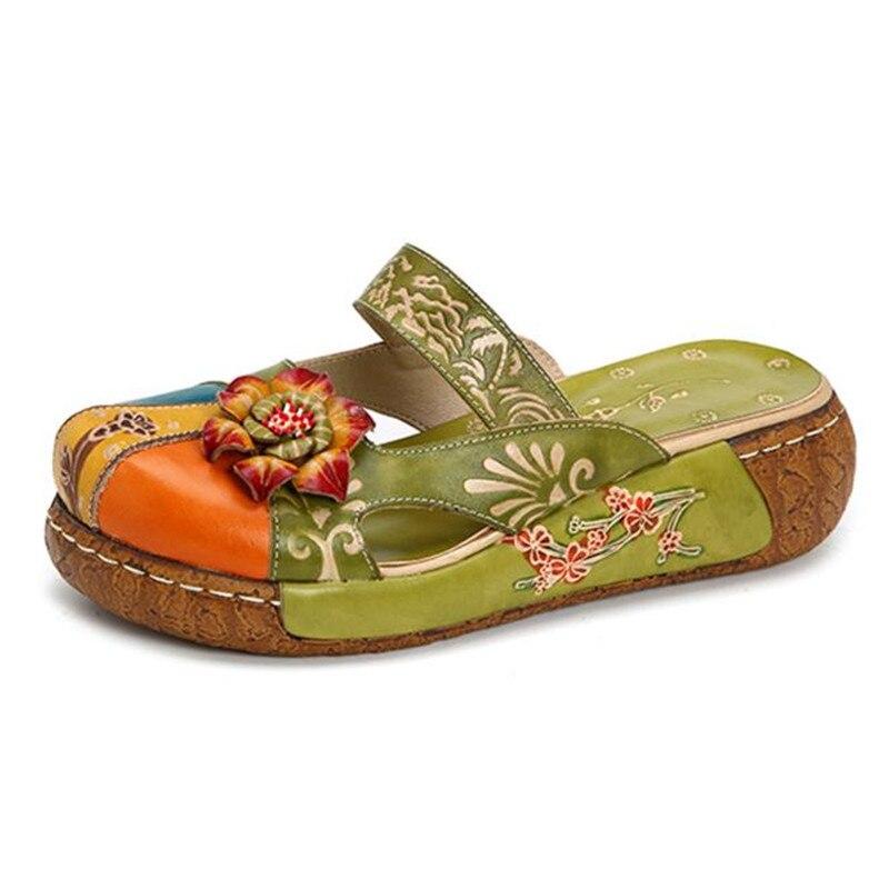 Cuir Blue La De Main Épais Plat Pantoufles En Femmes Taille red À Fond green Rétro Chaussures Grande gray Occasionnels Imprimé Fleur 4TgxqCwdC