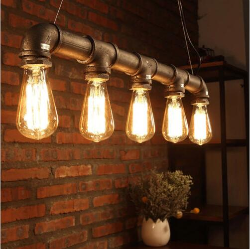 American Loft Industrial Lamp Pendant Water Pipe Steampunk Vintage Pendant Lights For Dining Room Bar Rust