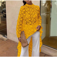 Women Lace Hollow Out Shirts Long Sleeve Irregular Stand Collar Female Loose Blouses 2019 Summer Lady Elegant Solid Beach Tops(China)