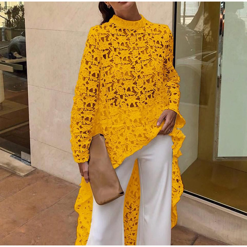 Women Lace Hollow Out Shirts Long Sleeve Irregular Stand Collar Female Loose Blouses 2019 Summer Lady Elegant Solid Beach Tops