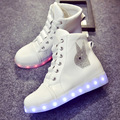 2017 High quality 7-color LED luminous women high top casual shoes LED shoes for adults USB charging lights black white shoes
