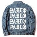 2016 NUEVA Kanye Pablo Denin Chaqueta Chaquetas Yeezy de Kanye West East Street Streetwear Hombres de la Chaqueta de Vaquero Abrigos Más Tamaño
