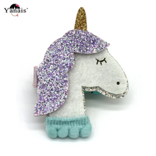 New 1PC Unicorn Hairpins Hairgrips Girls Popular Glitter Hair Clip Accessories