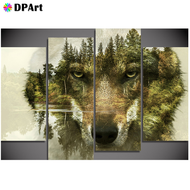 4PCS Diamond Painting 5D Full Square/Round Drill Wolf Animals Scenery Diamond Rhinestone Embroidery Cross Stitch Picture M5574PCS Diamond Painting 5D Full Square/Round Drill Wolf Animals Scenery Diamond Rhinestone Embroidery Cross Stitch Picture M557