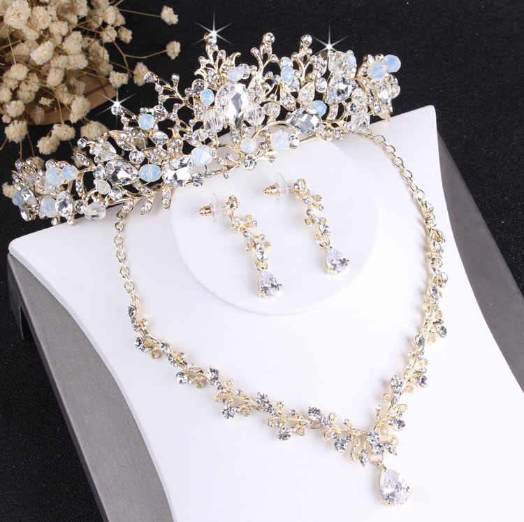Baroque Noble Crystal Bridal Jewelry Sets Vintage Gold Fashion Wedding Jewelry Tiara Necklace Earrings for Bride Hair Ornaments