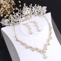 Barock Edle Kristall Braut Schmuck Sets Vintage Gold Mode Hochzeit Schmuck Tiara Halskette Ohrringe für Braut Haar Ornamente