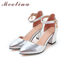 Meotina Shoes Woman 2018 New High Heels Spring Ladies Pumps Summer Two Piece Thick Heels Footwear Ankle Strap Shoes Sliver 34-43