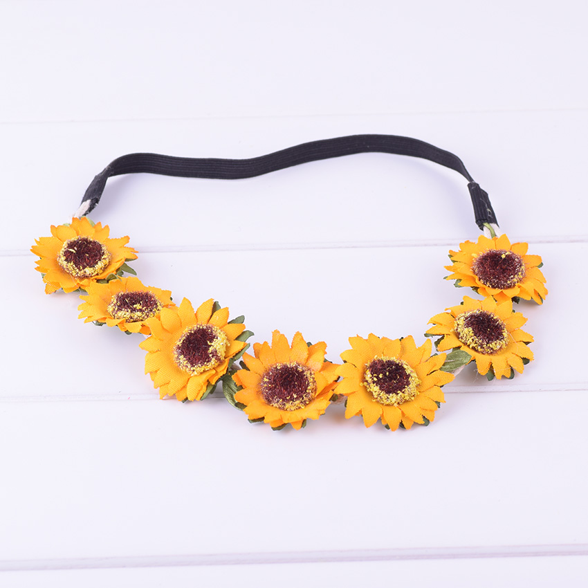 CXADDITIONS Sunflower Gradient Festival Wreath Stretch Elasticity Headband  Bohemian Orange Floral Flower Crown Wedding Hair Band-in Women s Hair  Accessories ... 075199c9a5a