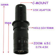 Big sale Free shipping 10X~180X Adjustable Magnification 25mm Zoom C-mount Lens 0.7X~4.5X Industry Microscope Camera Eyepiece Magnifier