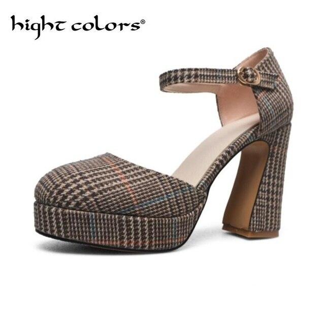 Plaid Ankle Strap Platform Heels