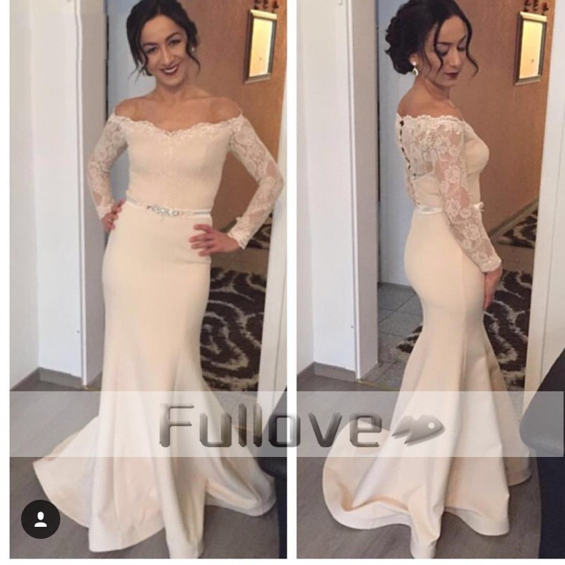 Generous Elegant Long Sleeve Lace Mermaid Evening Dresses 2019 Ivory Boat Neck Satin Occasion Party Gowns Vestido De Festa Kaftan Can Be Repeatedly Remolded. Weddings & Events