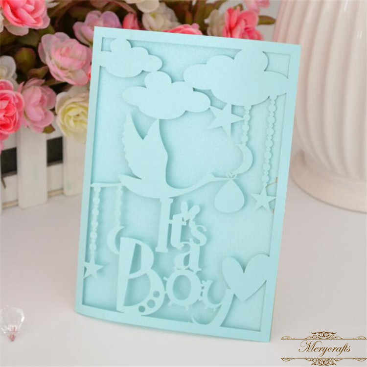 Welcome New Baby Invitation Card Laser Cut Boy Girl For Shower Birthday Invitations