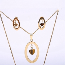 2017 Fashion Lady Heart Jewelry Sets Earrings Necklaces Pendants For Women Party Wedding Accessories