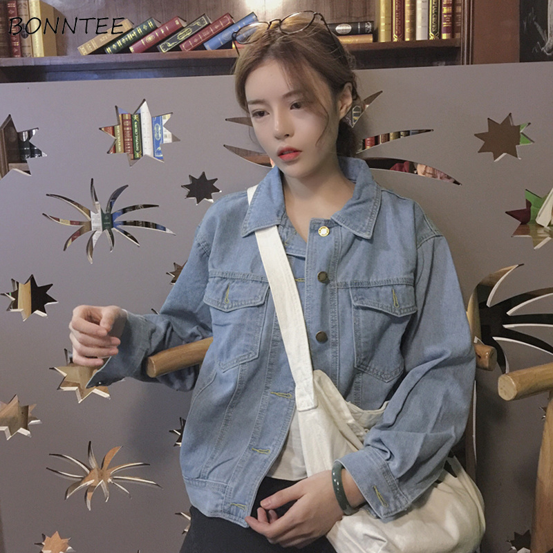 Jackets   Women 2019 Spring Trendy Korean Style Loose   Basic     Jacket   Womens Slim Solid Long Sleeve Denim Coat Elegant Leisure Daily