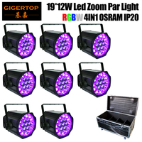 Flight Case 8IN1 Pack 19x12W Quad Color Led Zoom Aluminum Par Cans IP20 Indoor Daisy Chain Support Plastic Lens Beam/Wash 2in1
