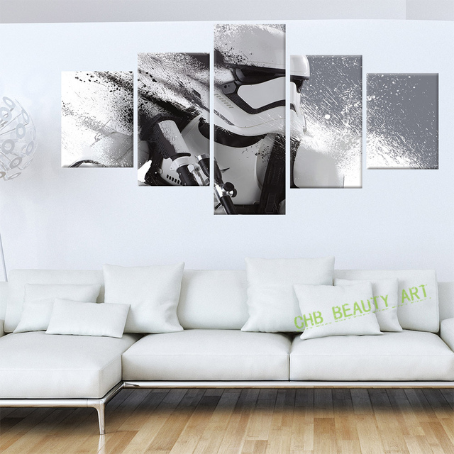 5 Piece Printed Star Wars Movie Poster Group Canvas Painting Wall