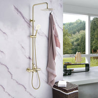 Bathroom Shower Faucet Solid Brass Thermostatic Bath and Shower Faucet Shower Mixer Brushed Gold Cold and Hot Mixer Tap Set