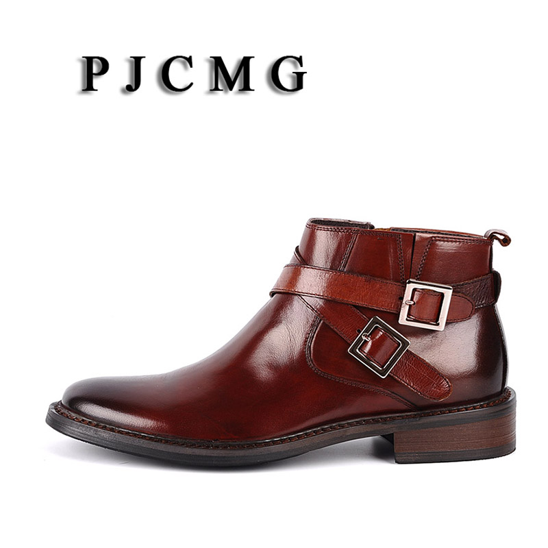 PJCMG New Pointed Toe Buckle Strap Ankle Boots Men Hombre Genuine Leather Men Motorcycle Boots For Men Work High Top Men Shoes - 5