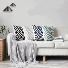 2019 New Simple Geometric Nature Pillow Case Modern Embroidered Throw Cover Cotton Plaid Cushion For Sofa Bedroom