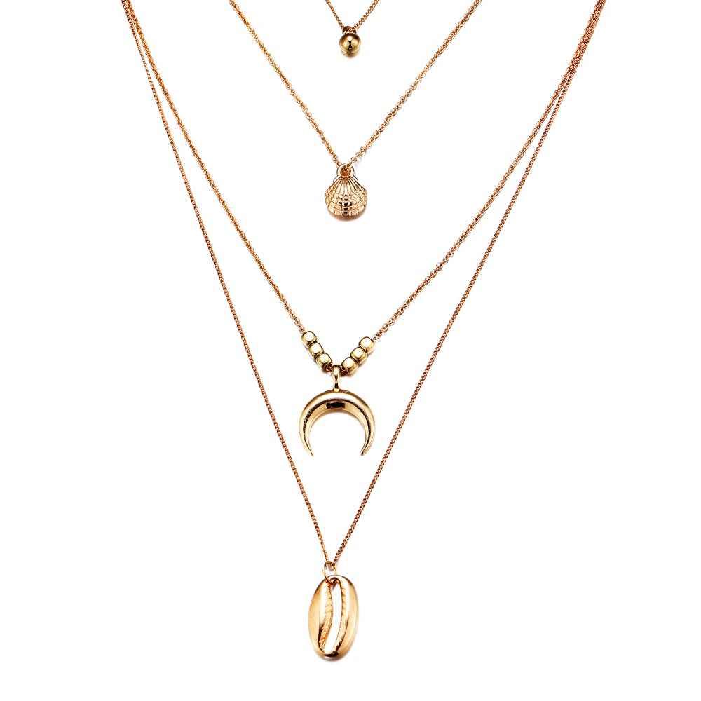 17 км богемные оболочки многослойные ожерелья для женщин Девушка Мода Золотой Серебряный цвет Длинные Луна воротник с ожерельем с подвесками ювелирные изделия