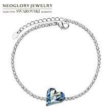 Neoglory Австрия Кристалл и Стразы браслет для женщин талисманы романтическая любовь сердце вечерние ювелирные изделия Браслет праздник классический