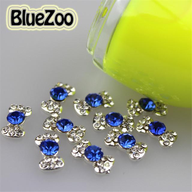 Azul Marinho BlueZoo Atacado 100 unidades/pacote Nail Art Liga Rhinestone Decoração Bow Tie Para 3d Nail Art Tips 6mm * 11mm