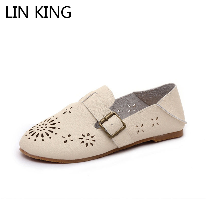 LIN KING Sweet Buckle Round Toe Women Flats Sexy Comfortable Solid Woman Lazy Shoes Spring Autumn Shallow Mouth Breathable Shoes lin king fashion pu leather women flats shoes round toe loafers comfortable slip on casual shoes solid breathable girl lazy shoe