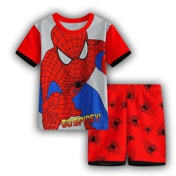2018 Summer Children Sleepwear Short Popular Cartoon Pajamas Boys Pyjamas 100% Cotton Clothing Set Kids Baby Clothe