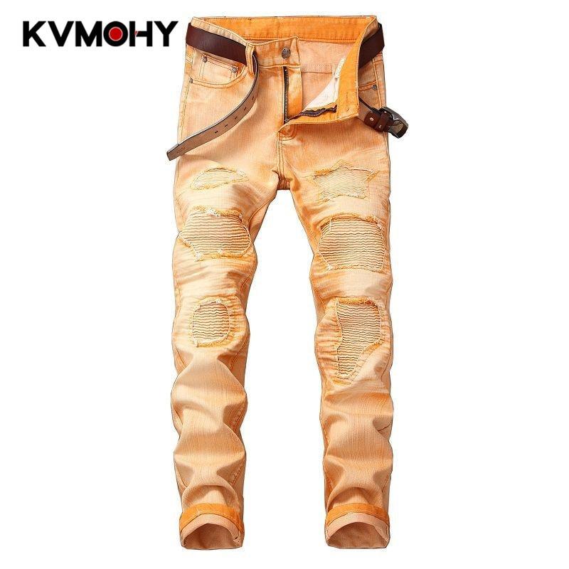 Hip Hop Jeans Men Camouflage Orange Jeans Trousers Male Camo Cool Fashion Slim Army Denim Pants Ripped Pantalon Homme Jean