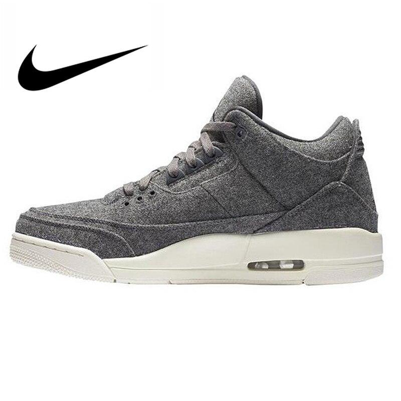 Оригинальный Nike Оригинальные кроссовки Air Jordan 3 Ретро Шерсть темно серый шерсть для мужчин's баскетбольные кеды AJ 3 мужчин массаж спортивная