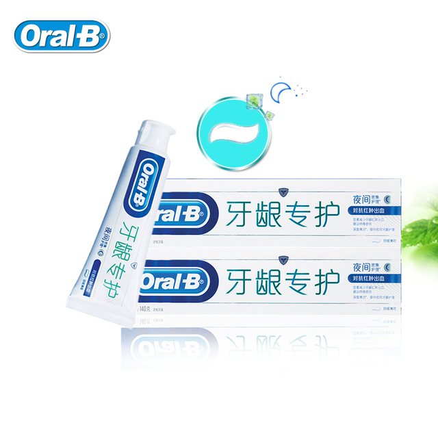 Oral B Fluorinated Toothpastes Night Intensive Care Deep Clean Mint Tooth Pastes Reduces Gum Swelling Stop Bleeding 140g*2pcs