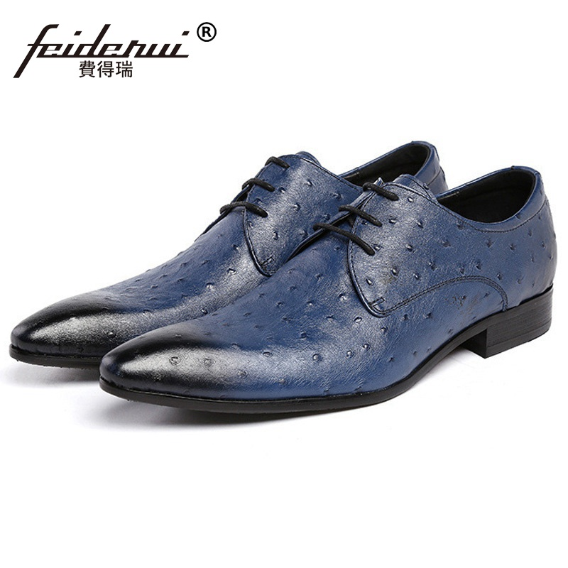 Luxury Brand Pointed Ostrich Man Formal Dress Business Wedding Shoes Genuine Leather Male Oxfords Men's Derby Bridal Flats IH78  ruimosi new arrival formal man bridal dress flats shoes genuine leather male oxfords brand round toe derby men s footwear vk94