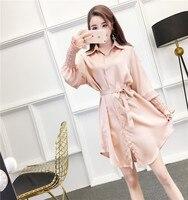 New Women dress Firm Offers Emulation Silk Waist With Alt Dresses White Pink Black 5263