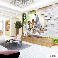 Custom 3D Print DIY Fabric Textile Wallcoverings For Walls Foldable Wallpaper Matt Silk For Living Room