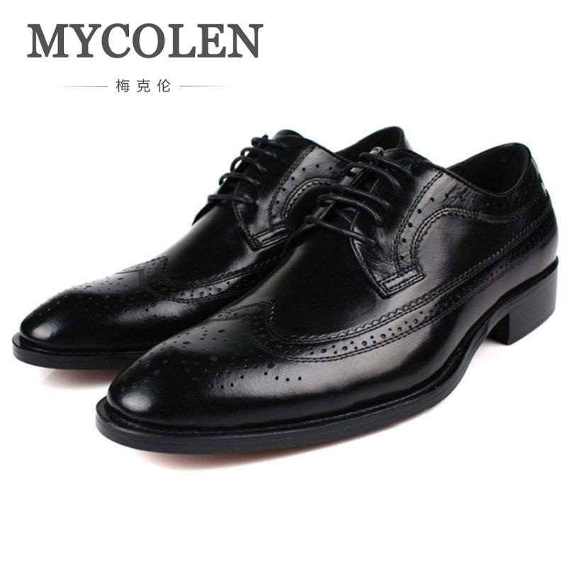 MYCOLEN 2018 New Arrives Handmade Oxfords Formal Shoes Men Luxury Genuine Leather Brogue Wedding Shoes Business Casual Shoes new branded men s casual full grain leather oxfords shoes wedding dress shoes handmade business lace up brogue shoes for men