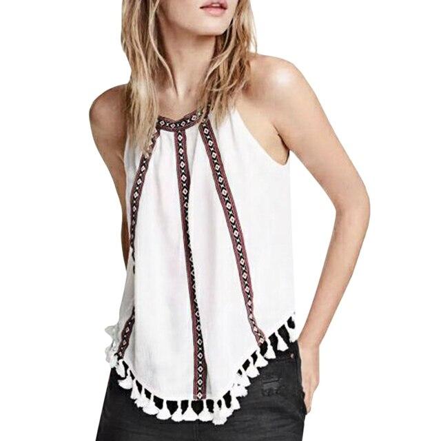 e1764f47 Women Blouse Shirt Tassel Drawstring Neck Camis Girls Comfortable Cotton  Sleeveless Tank Tops Printing Ethnic Style Vest