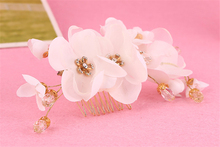 Beaded Fabric Flower Hair Comb Wedding Hair Accessories Pearl Hair Jewelry Bride Tiara Headpiece Bijoux Cheveux WIGO0844