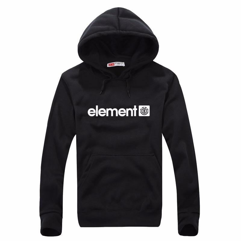 Element Print Solid Fleece Hoodies