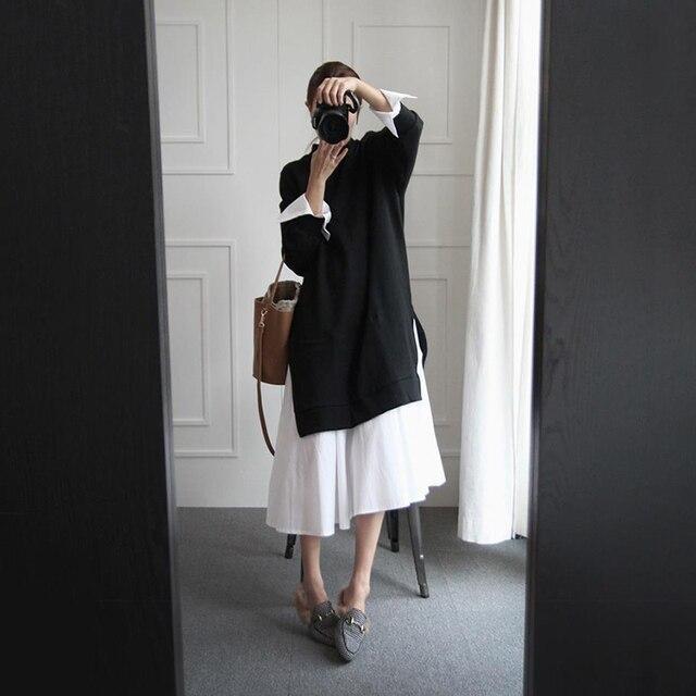 [Soonyour] 2017 весенняя мода новый O-образным Вырезом с длинным рукавом сплит совместное Ложные две части свитер dress девушку большой размер AS20941