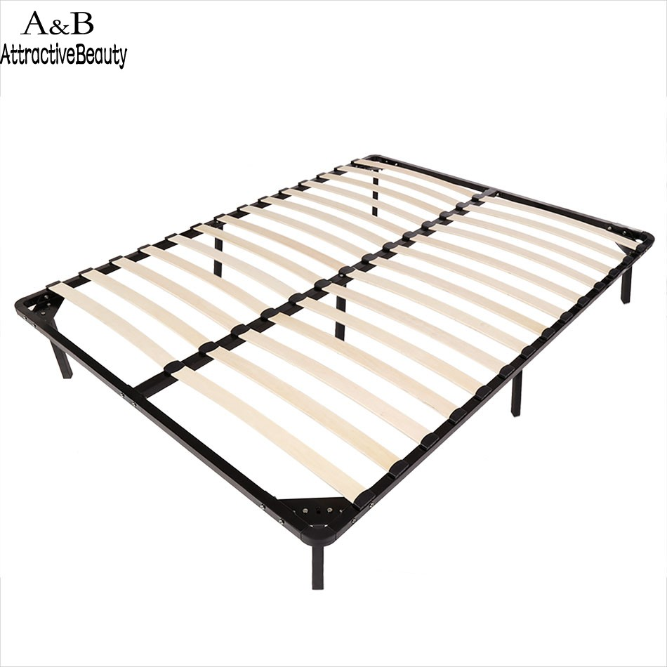 Homdox Full Size Metal Bed Frame Wood Slats 7 Legs Bedroom Furniture N40A giantex black folding heavy duty metal bed frame center support bedroom full size bedroom furniture hw52107