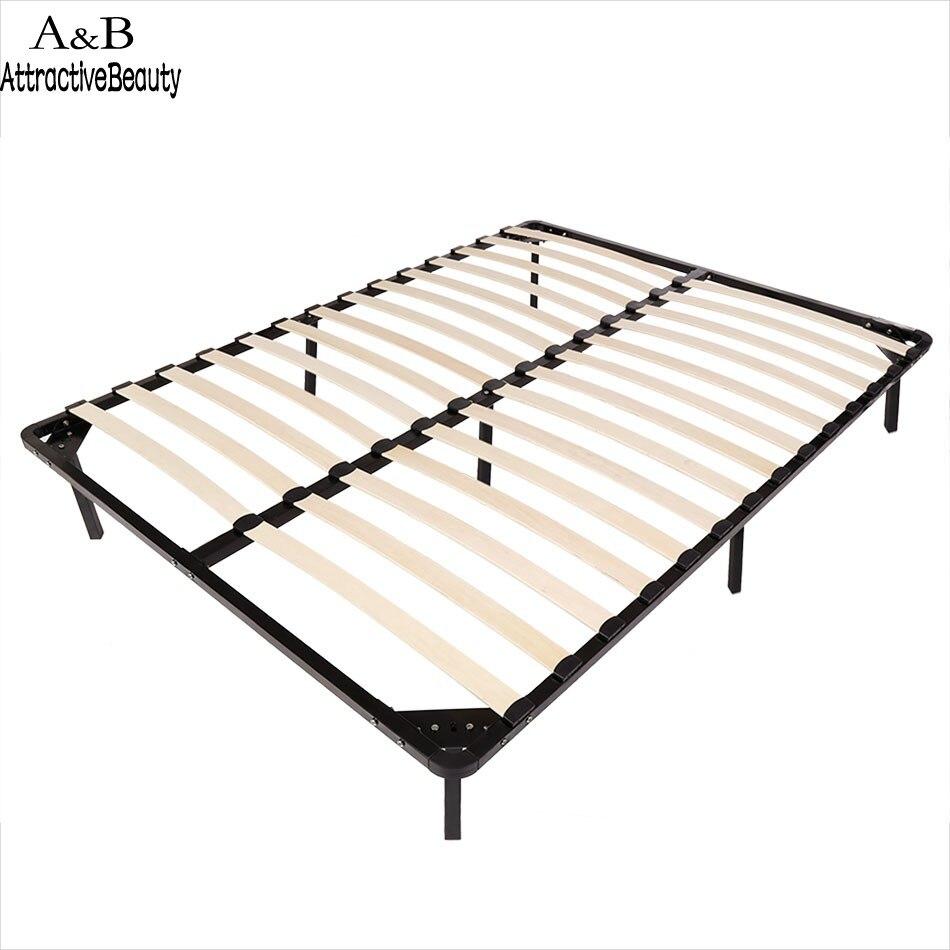 Homdox tamaño completo cama de metal Marcos listones de madera 7 ...