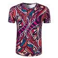 Homens novos da chegada prevista de impressão padrão floral estilo chinês t-shirt o neck manga curta desgaste do verão clothing moda 3d t camisa