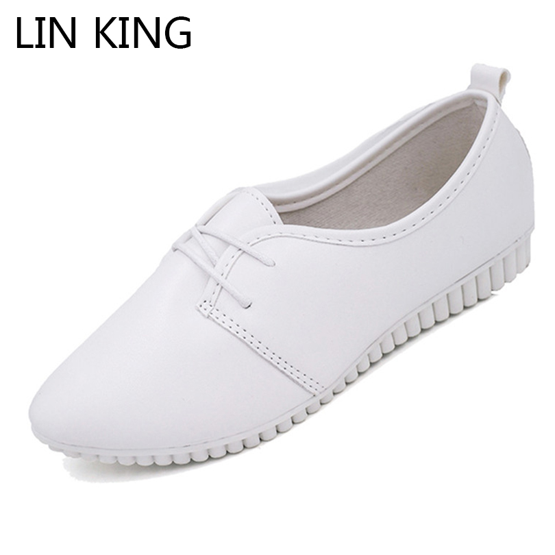 LIN KING New Spring Autumn Women Flats Casual Shoes Pointed Toe Lace Up Ankle Loafers Comfortable Ladies Work Shoes Mother Shoes lin king women casual shoes leisure lace up wedge shoes fashion low top massage ankle shoes solid massage outdoor single shoes
